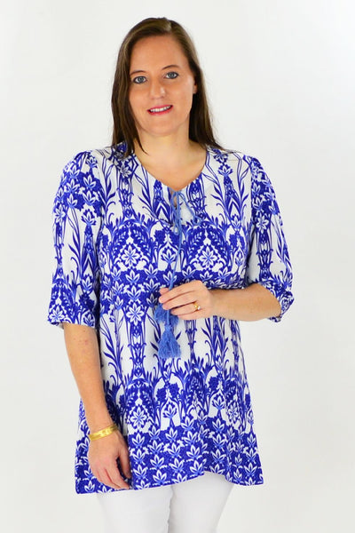 Blue Glass House Tunic Top | I Love Tunics | Tunic Tops | Tunic Dresses | Women's Tops | Plus Size Australia | Mature Fashion