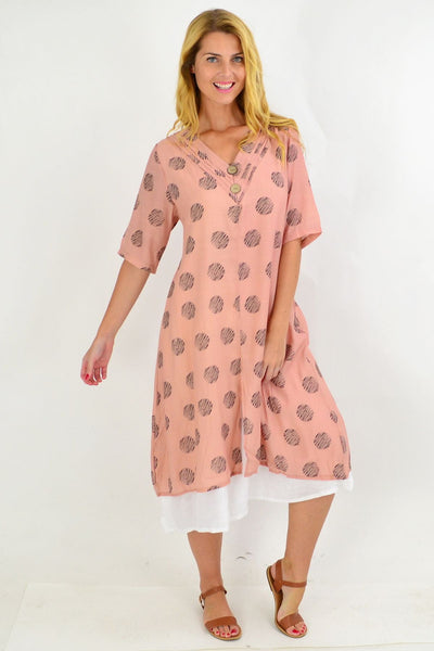 Dusty Pink Dots Overlay Tunic Dress