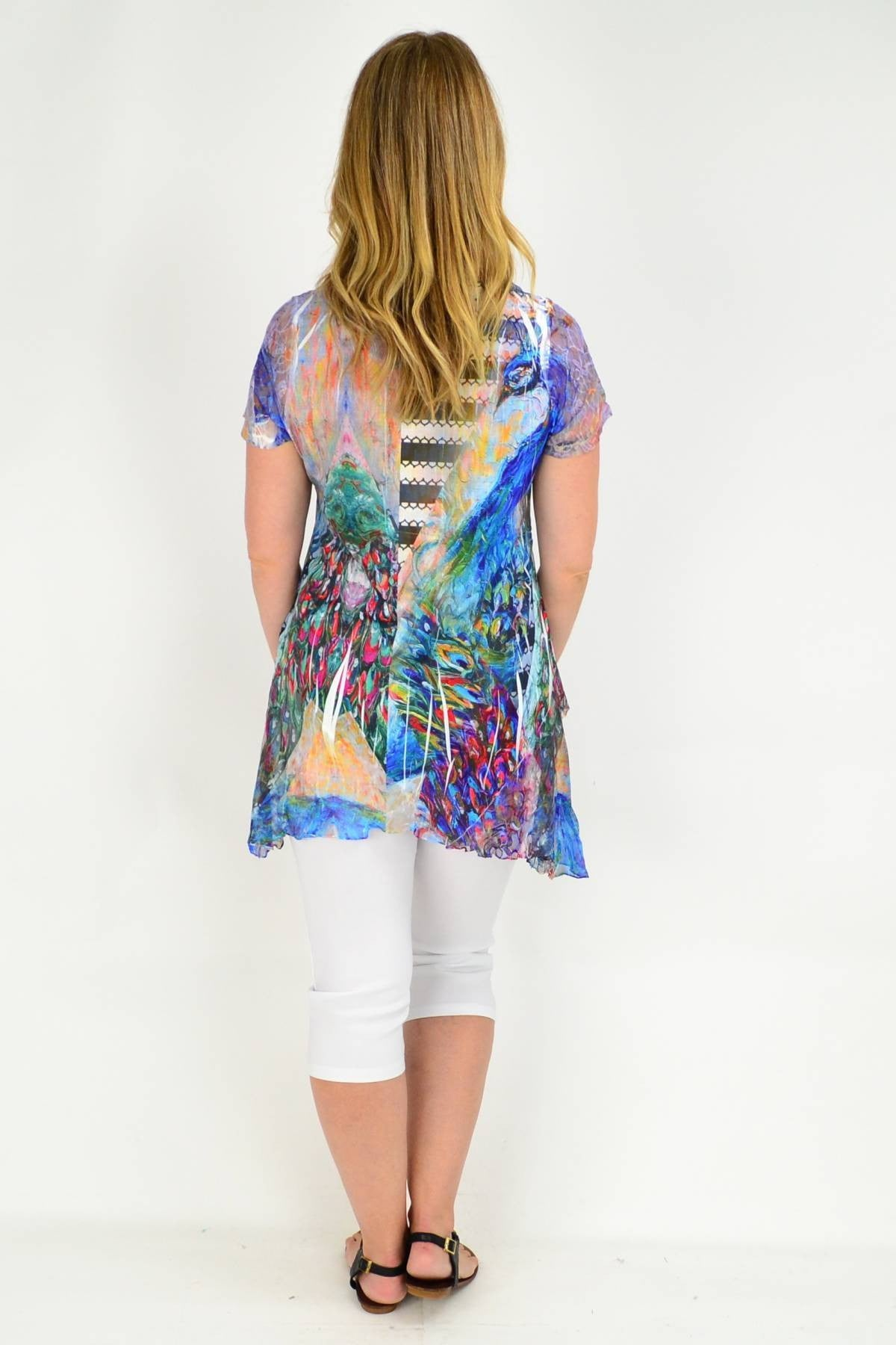 Peacock Feather Colour Lace Trim Tunic Blouse