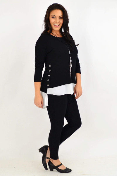 Black Button Double Layer Tunic Top