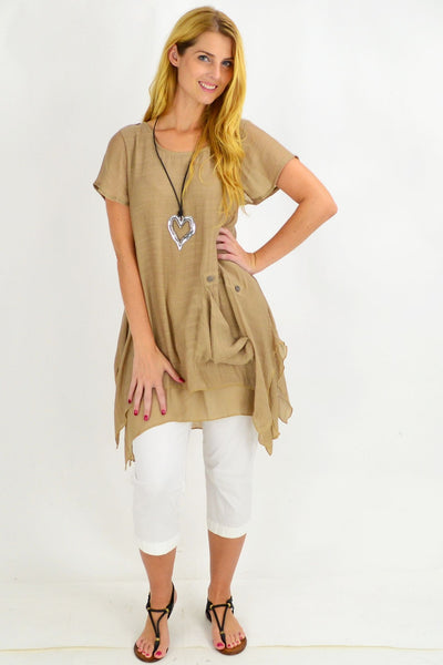 Tan Kaleah Tunic Top