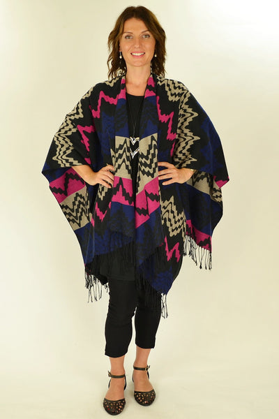 Pink Mexican Poncho Wrap