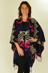 Pink Mexican Poncho Wrap - at I Love Tunics @ www.ilovetunics.com = Number One! Tunics Destination