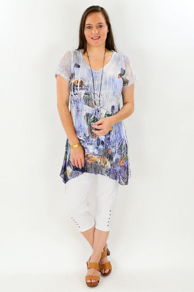 Butterfly Print Tunic Top