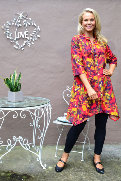 Autumn Leaves Stand Collar Long Shirt - I Love Tunics