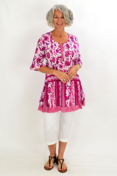 Fuchsia Pink Floral Tunic Top