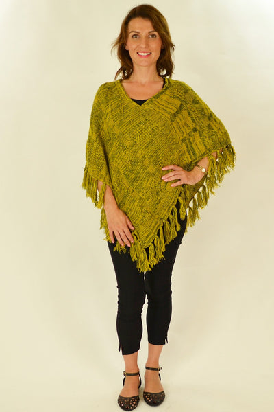 Yellow Knit Tassel Poncho