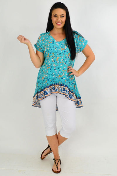 Teal Flower Meadow Hi Low Tunic Top