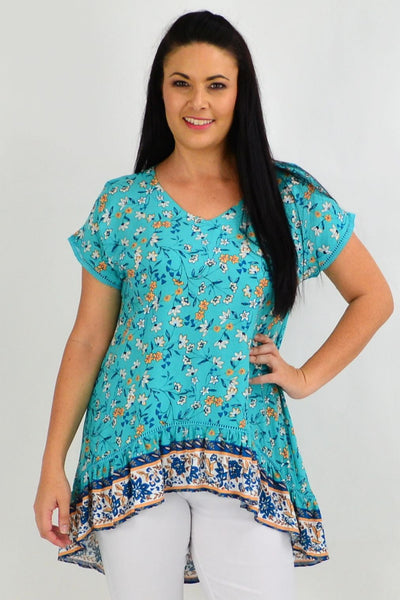Teal Flower Meadow Hi Low Tunic Top | I Love Tunics | Tunic Tops | Tunic | Tunic Dresses  | womens clothing online