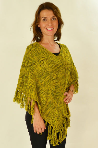 Yellow Knit Tassel Poncho - at I Love Tunics @ www.ilovetunics.com = Number One! Tunics Destination
