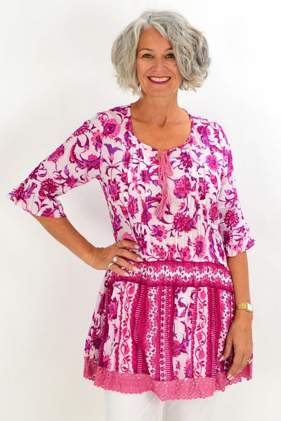 Fuchsia Pink Floral Tunic Top | I Love Tunics | Tunic Tops | Tunic | Tunic Dresses  | womens clothing online