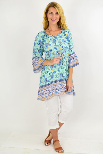 Aqua Paisley Light & Pretty Tunic Top