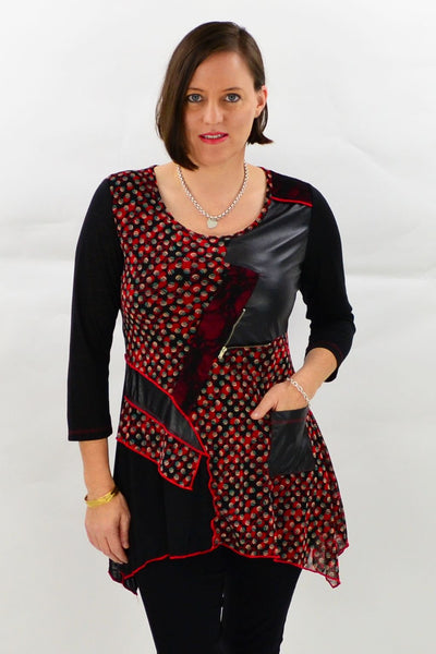 Red Leatherette Patch Tunic | I Love Tunics | Tunic Tops | Tunic | Tunic Dresses  | womens clothing online