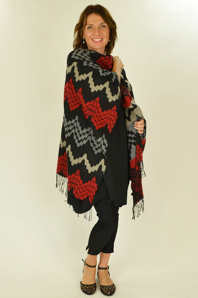 Red Mexican Poncho Wrap