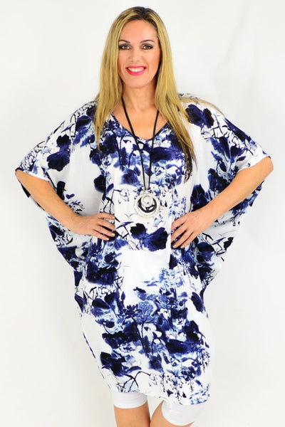 Relaxed Fit Light Cool Blue Floral Tunic