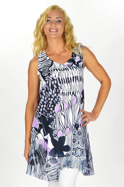 Black Purple Sleeveless Tunic Top | I Love Tunics | Tunic Tops | Tunic | Tunic Dresses  | womens clothing online