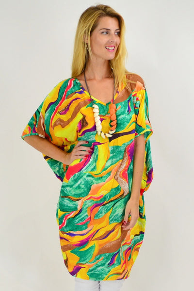 Yellow Swirl Relaxed Tunic Dress | I Love Tunics | Tunic Tops | Tunic | Tunic Dresses  | womens clothing online