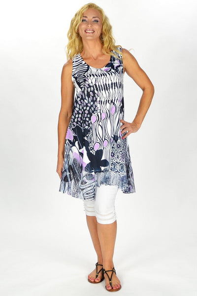 Black Purple Sleeveless Tunic Top