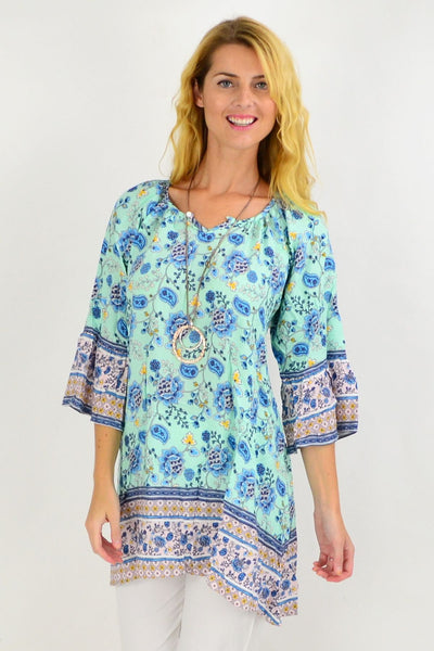 Aqua Paisley Light & Pretty Tunic Top | I Love Tunics | Tunic Tops | Tunic | Tunic Dresses  | womens clothing online
