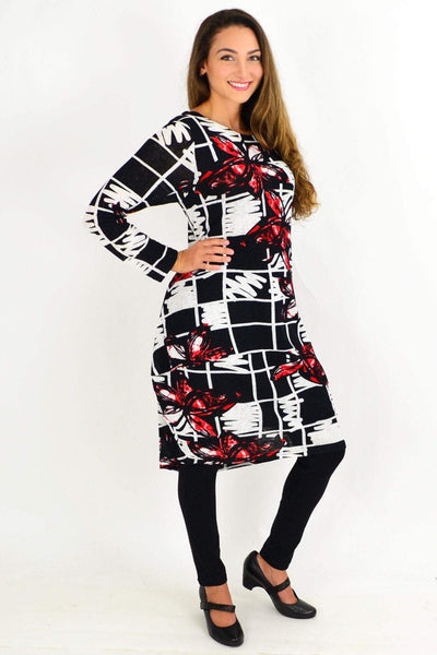 Red Butterfly Cocoon Tunic Dress | I Love Tunics | Tunic Tops | Tunic | Tunic Dresses  | womens clothing online