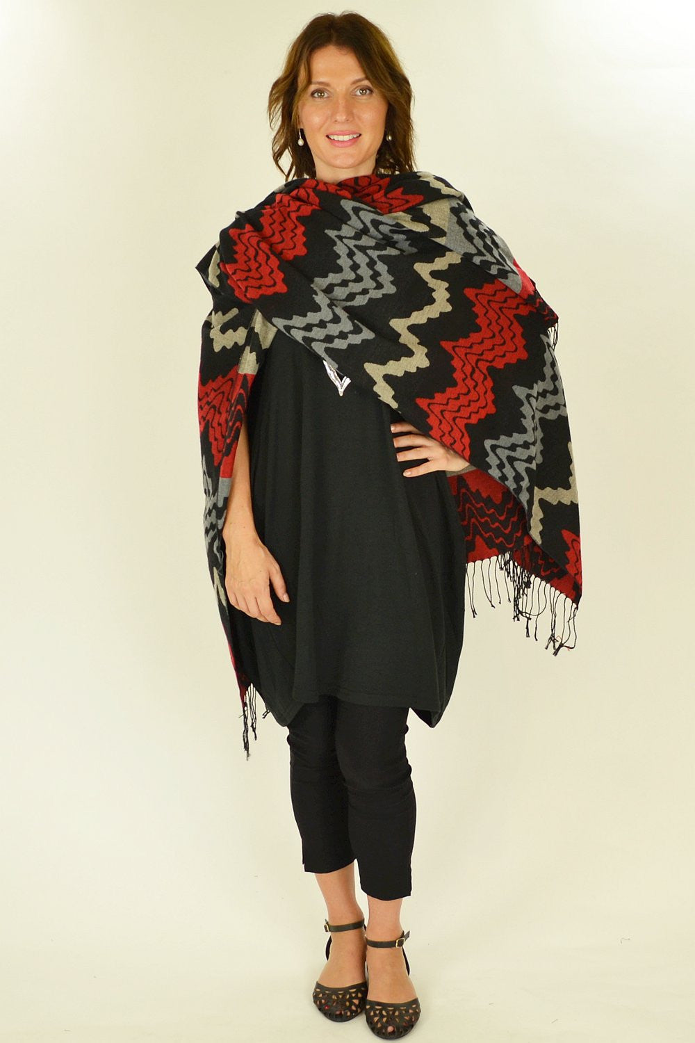 Red Mexican Poncho Wrap - at I Love Tunics @ www.ilovetunics.com = Number One! Tunics Destination