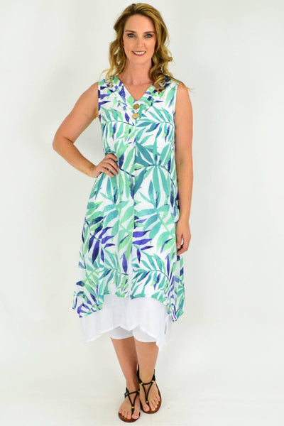 Green Leaf Bamboo Cotton Long Tunic Dress