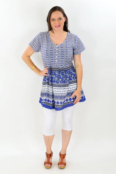 Blue White Floral Cotton Tunic