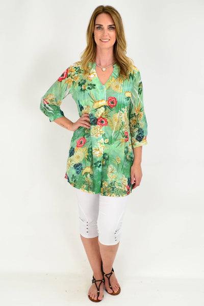 Green Floral Pleated Tunic Shirt