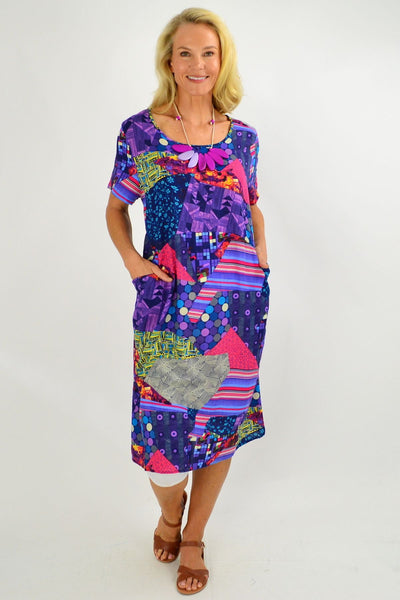 Purple Pattern Tunic Dress - I Love Tunics