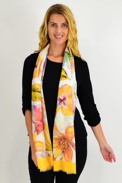 Yellow Large Flower Print Scarf