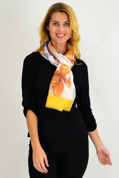 Yellow Large Flower Print Scarf - I Love Tunics