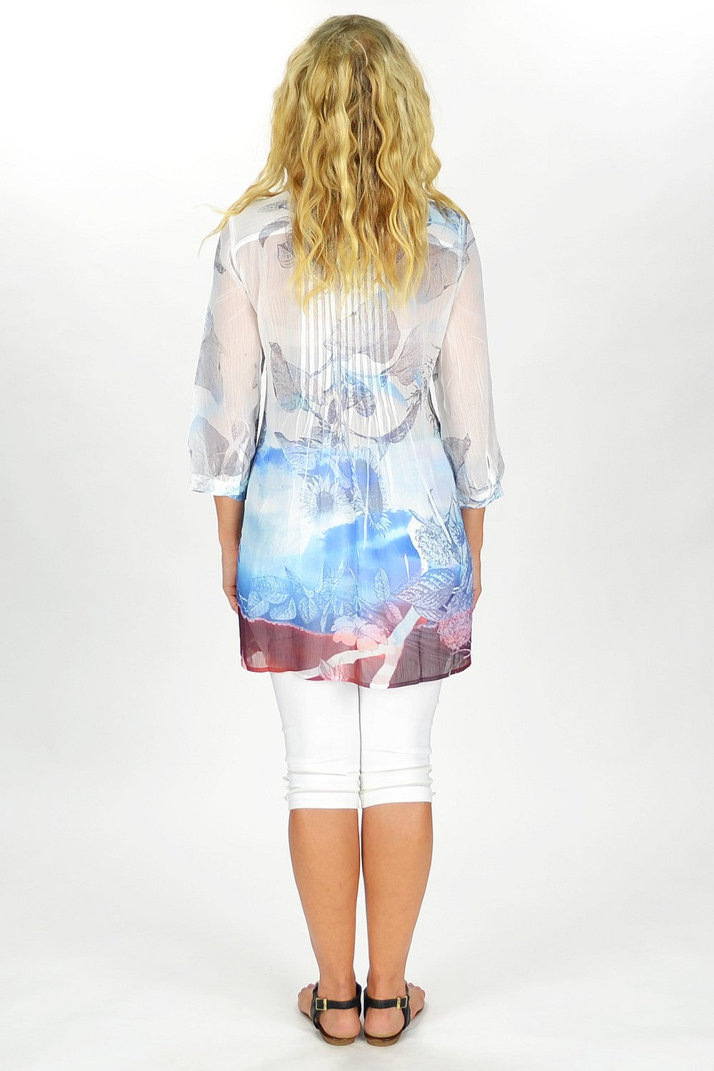 Blue Sun Flower Tunic - at I Love Tunics @ www.ilovetunics.com = Number One! Tunics Destination