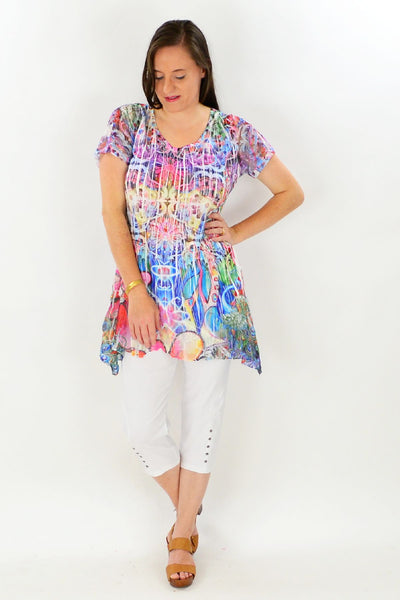 Floral Rainbow Tunic Top
