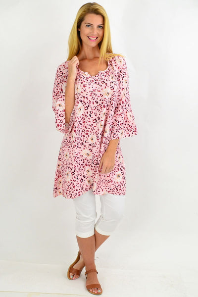 Pink Leopard Floral Light & Pretty Tunic Top