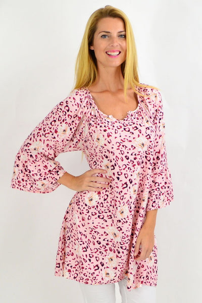 Pink Leopard Floral Light & Pretty Tunic Top | I Love Tunics | Tunic Tops | Tunic | Tunic Dresses  | womens clothing online