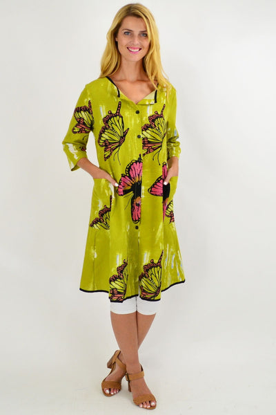Lime Green Butterfly Button Up Tunic Dress