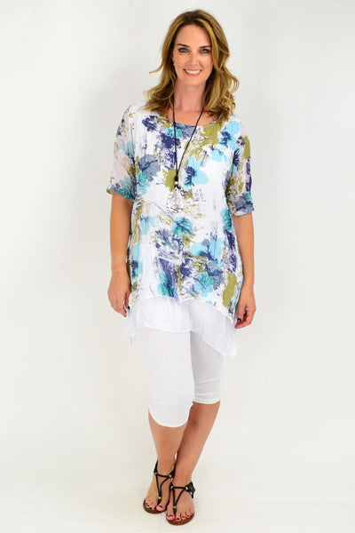 Crinkle Aqua Floral Short Sleeve Cotton Linen Tunic Blouse
