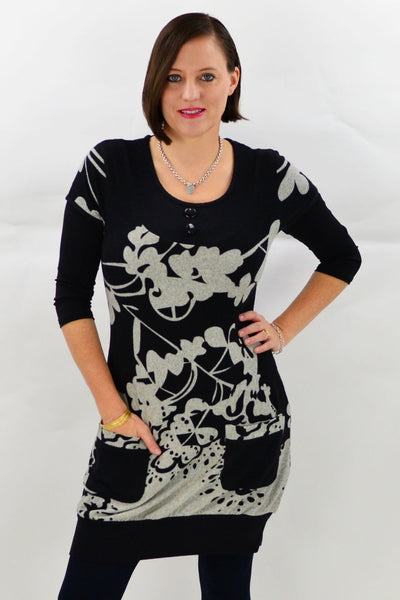 Model wearing Miranda Winter Tunic Top by Caroline Morgan - CKM . Available at ilovetunics.com
