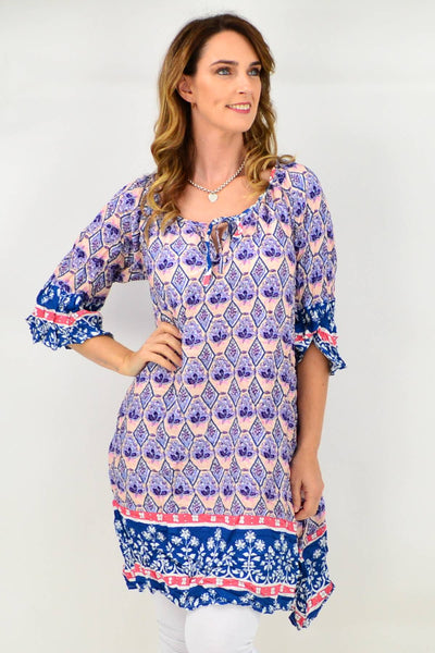 Peach Floral Crinkle Tie Tunic Dress
