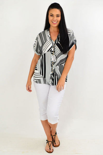 Black White Stripe Tunic Top