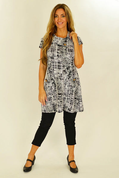 Black White Rose Tunic