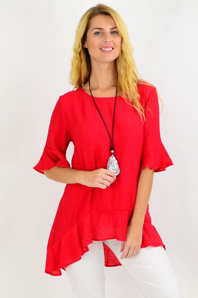 Red Frill Tunic Top