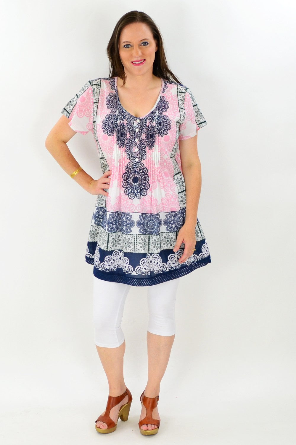 Pink Black Mandala Tunic - at I Love Tunics @ www.ilovetunics.com = Number One! Tunics Destination