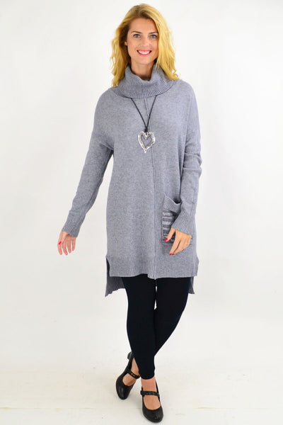 Grey Winter Woolly Knit Tunic Jumper