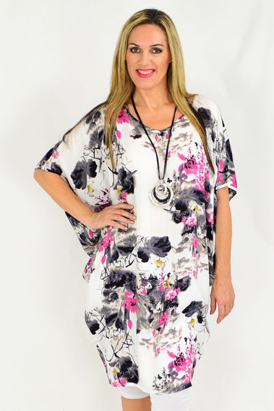 Relaxed Fit Light Cool Pink Grey Floral Tunic