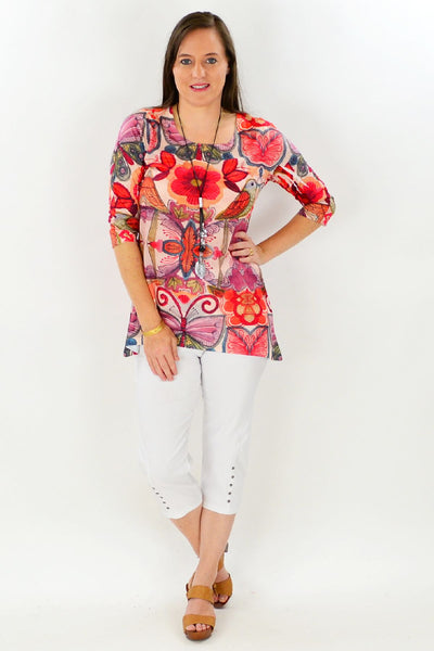 Birds and Flowers Tunic Top