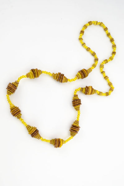 Yellow Wooden Disks Necklace