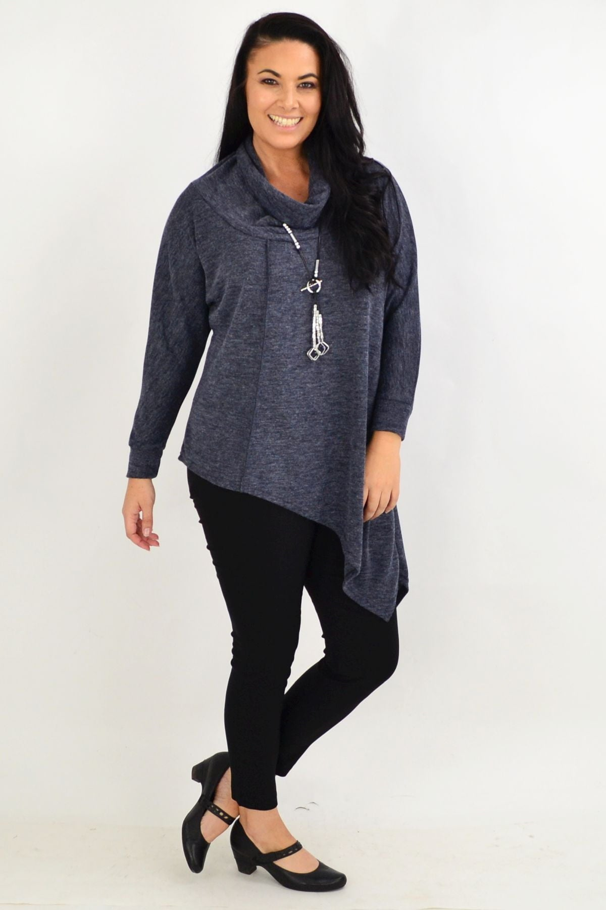 Charcoal Grey Asymmetrical Rolled Neck Jumper | I Love Tunics | Tunic Tops | Tunic | Tunic Dresses  | womens clothing online
