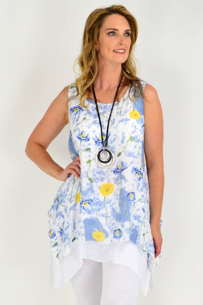 Soft Blue Floral Print Beach Cotton A line Tunic