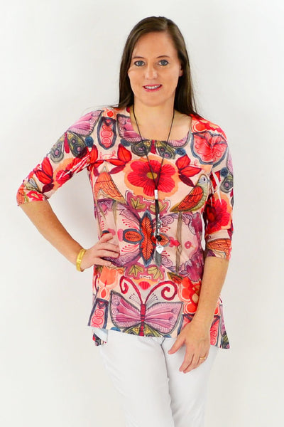 Birds and Flowers Tunic Top | I Love Tunics | Tunic Tops | Tunic Dresses | Women's Tops | Plus Size Australia | Mature Fashion